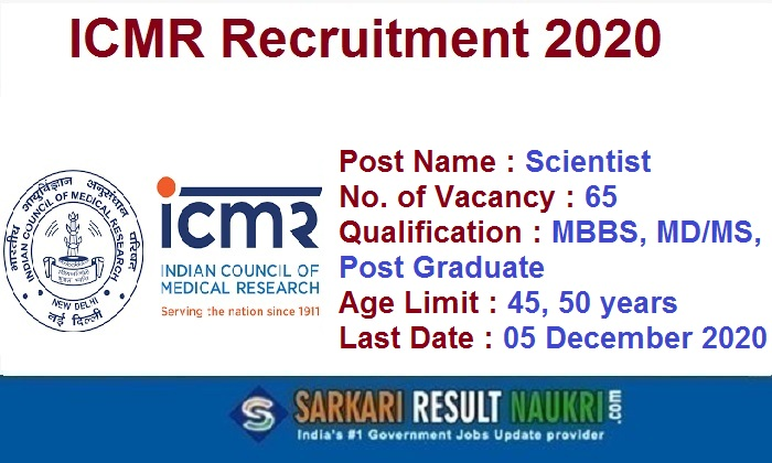 ICMR Scientist Recruitment 2020